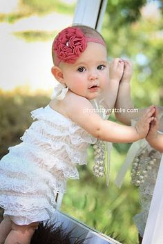 Ruffle lace romper Great baby picture I've seem one where she's on all fours on a mirror that's cute too.