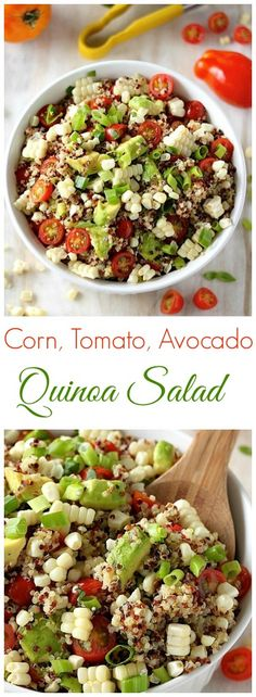 End of Summer Corn, Tomato, and Avocado Quinoa Salad Ende des Sommers Mais, Tomaten und Avocado Quinoa Salat – so frisch, gesund und lecker ! Avocado Quinoa, Quinoa Salat, Avocado Salat, Greek Quinoa Salad, Quinoa Rice, Healthy Salads, Healthy Eating, Healthy Corn, Vegetarian Recipes