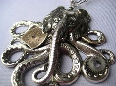 OCTOPHANT--Steampunk Octopus Elephant Statement Necklace SRAJD. $23.00, via Etsy.