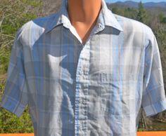 vintage 70s shirt plaid short sleeve button down NEWPORT preppy pastel white blue Large 80s