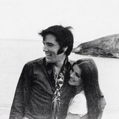 1968 Elvis and Priscilla at the Hanauma Bay lookout point Hawaii.
