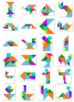 35 modèles de tangrams, en couleur, au format image. Montessori Activities, Preschool Learning, Teaching Math, Tangram Puzzles, Foundation Paper Piecing, Math For Kids, Math Games, Pattern Blocks, Perception