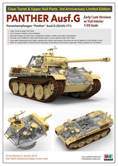 The Modelling News: A clear case? Ryefield Model's new scale Panther G … The Modelling News: A clear case? Ryefield Model's new scale Panther G in CAD & inside out now with some boxart. Tamiya Model Kits, Tamiya Models, The Modelling News, Tiger Tank, Model Tanks, Model Building Kits, Ww2 Tanks, Armored Vehicles, Plastic Models