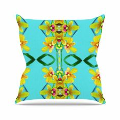 KESS InHouse DR1034AOP03 18 x 18-Inch 'Dawid Roc Tropical Floral Orchids 3 Teal ' Outdoor Throw Cushion - Multi-Colour