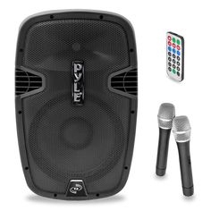 1600 Watt Bluetooth Music Streaming Portable Loudspeaker System - Built-in Rechargeable Battery, 2 Wireless Mics, FM Radio, LCD Readout, USB & SD Card Readers Bluetooth, Pa Speakers, Powered Speakers, Speaker System, Loudspeaker, Card Reader, Sd Card, Usb