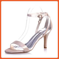323bb0d70 Fashionmore Women s Satin Open Toe Dress Sandals Champagne 10.5 US -  Sandals for women (