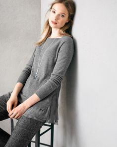 Shirttail Cashmere Sweater - Garnet Hill