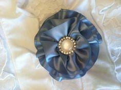Dusty Blue Satin Hair Flower/Pin by OliviasPretties on Etsy, $5.50