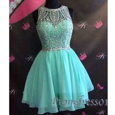 Sequins prom dress, homecoming dress, light blue chiffon sequins mini party dress for teens