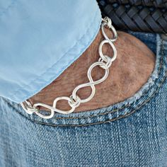 "Mens Infinity Link sterling silver bracelet.  by Untwistedsister.  ""Endless Love"""