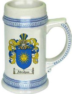 Abraham Coat of Arms / Family Crest tankard stein mug