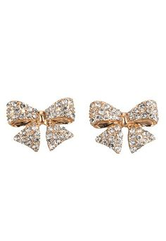 Gold-Colored Rhinestone Bow Earrings (original price, $8) available at #Maurices