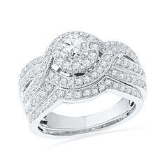 T W Diamond Layered Braid Bridal Set In 14k White