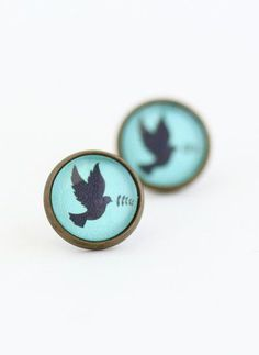 Button earring with Dove and Olive Branch symbolizing Peace. mom would have loved these earrings...Brass Post Earrings with Bird