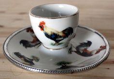 COQUETIER ANCIEN EN PORCELAINE DE MEHUN CERCLE ARGENT ( H 5 cm D 11 cm ) in Céramiques, verres, Céramiques, vaisselle déco, Coquetiers, dessous de plats | eBay