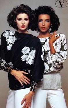 JOAN SEVERANCE & DALMA CALLADO Valentino Ad 1984 Photo: Renato Grignaschi