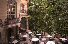 Amazing vertical garden in the Pershing Hall restaurant, Pierre Charon street, 8th arrondissement