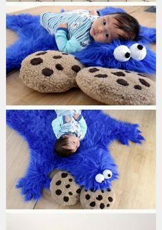 DIY Cookie Monster Fur Rug With Cookie Pillows !!!!!<3<3<3Complete How To Do : *you can Check at http://www.instructables.com/id/cookie-monster-rug/?ALLSTEPS Thanks For Looking! :)