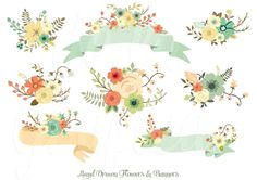 Hand Drawn Flowers & Banners Clipart | This unique clipart is ideal for invitations, wedding invitations, transfers, web design, graphic design, handmade craft items, printed paper items, cupcake toppers,scrap booking, cards and so much more!!