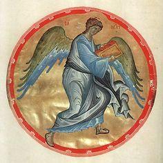 Евангелие Хитрово (РГБ. Ф. 304. III. №3/М.8657). Символ евангелиста Матфея