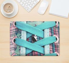 """The Turquoise Laced Shoe Skin Kit for the 12"""" Apple MacBook from DesignSkinz"""