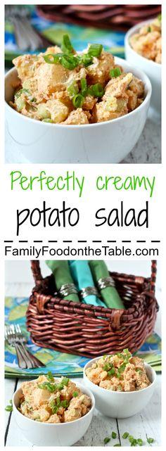 This potato salad is perfectly creamy, and lightened up using half Greek yogurt! | FamilyFoodontheTable.com
