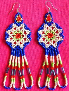 Mexican Huichol Beaded earrings by Aramara on Etsy, $7.00