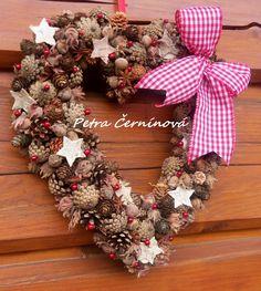 Vánoční srdce Velikost 33 cm. -jen přírodní materiály