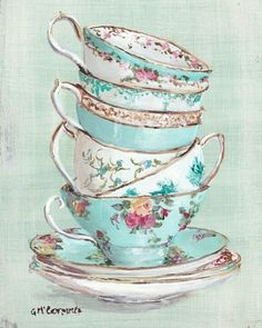 .Turquois teacup tower painting