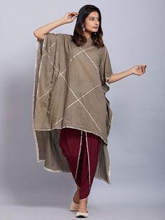 Grey Cotton Kaftan with Maroon Dhoti Pants - Set of 2 Pakistani Fashion Casual, Indian Fashion Dresses, Pakistani Dress Design, Indian Designer Outfits, Girls Fashion Clothes, Fashion Pants, Fashion Outfits, Clothes For Women, Ladies Fashion