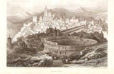 toros en barco | Segovia . Grabado en plancha de acero de 1837 de un dibujo de David ...