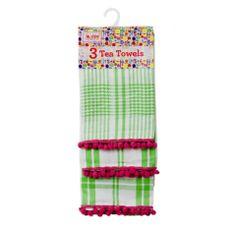 neon green checks/stripes tea towels with pom pom trim