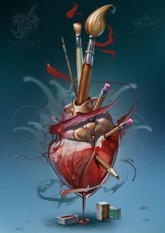 heartbrush by black-3G-raven.deviantart.com on @deviantART Art Inspo, Pop Art, Anatomical Heart Drawing, Anatomy Art, Heart Anatomy Drawing, Medical Art, Human Heart, Heart Images, Sacred Heart