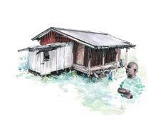Pacific Island Home Art Print Jecka Hulme art Fiji Post-cyclone Reconstruction Habitat for Humanity