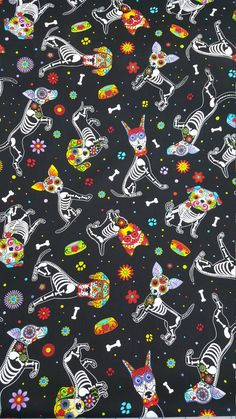 cotton Quilting fabric by the yard by SneezeWeedsStudio Halloween Wallpaper Iphone, Holiday Wallpaper, Halloween Backgrounds, Wallpaper Iphone Cute, Cellphone Wallpaper, Cute Wallpapers, Wallpaper Backgrounds, Wallpaper Gatos, Skull Wallpaper