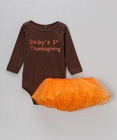 Brown '1st Thanksgiving' Bodysuit & Orange Tutu - Infant | Daily deals for moms, babies and kids