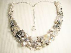 Ivory and Silver Statement Necklace Bridal Bib by BrassBoheme, $100.00