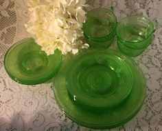 Georgian Lovebirds Depression Glass, Service for Four, Federal Glass, 1930's by UdellLane on Etsy