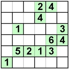 Number Logic Puzzles: 21522 - Bricks size 6