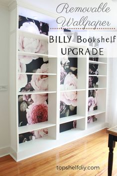 Upgrade your Billy Bookshelves following this step-by-step process. Lots of tips and photos to help you along! #billybookshelves #billyhack #stickandpeelwallpaper