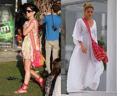 Amazing look of the trendy Wayuu bags. Shakira on the right :) Shakira, Cool Things To Buy, Stuff To Buy, Kimono Top, Cover Up, Sari, Purses, How To Wear, Outfits