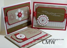 Christmas card (scroll down to Nov 16, 2009)... RECIPE: Stamps: Serene Snowflakes Paper: See above Ink: Whisper White, Real Red Accessories: polka dot grosgrain ribbon Tools: punches, glue dots, ticket punch, dimnsionals