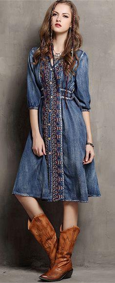 Boho demin dress