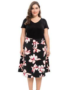 93ff8d30bc4d8 Women s Vintage Style Plus Size Floral Printed Dress 1X-4X