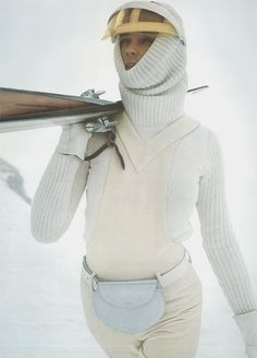 Is this the body-hugging rib knit burka of our arctic alpine future? With a fanny pack?!