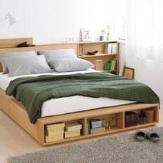 収納ベッド・ダブル・オーク材 幅148.5×奥行201×高さ27cm | 無印良品ネットストア