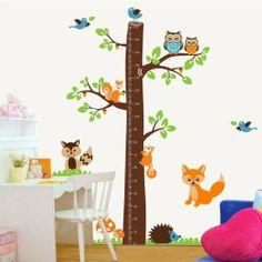 Colorfulworld® XXXL! Eule Fuchs Eichhörnchen & Vogel Baum Growthchart Meßlatte PVC Wandtattoo Wandaufkleber Wandsticker Kinderzimmer Geschen...