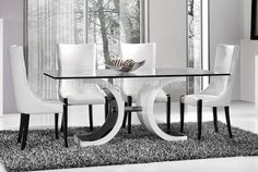 Mesa Sphere Glass Dining Table, Glass Dining Room Table, Modern Dining Table, Dining Table Decor, Living Room With Fireplace, Dinning Room Decor, Glass Dinning Table, White Dining Room Decor, Glass Dining Table Set