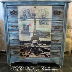 A Paris Themed Dresser With Chalk Paint® by Annie Sloan and Craqueleur - One of our stockists, Janet of TLC Vintage Collection in Des Moine, IA has created a go…