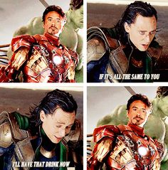 My favorite hero and favorite villain. And just look at tony's little smile in the last frame lol